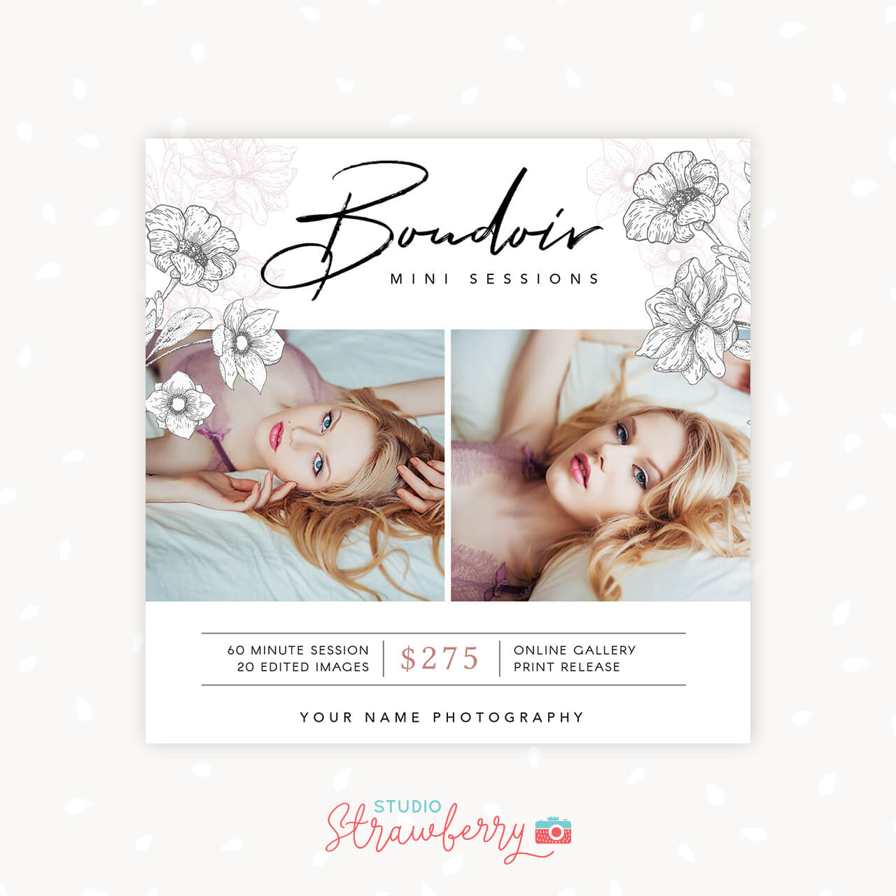 Boudoir mini sessions template floral