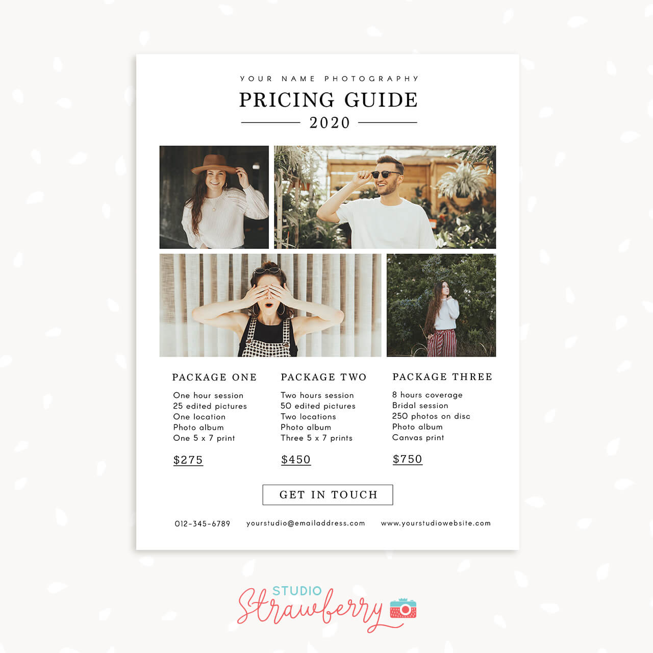 Photographer pricing template 2020