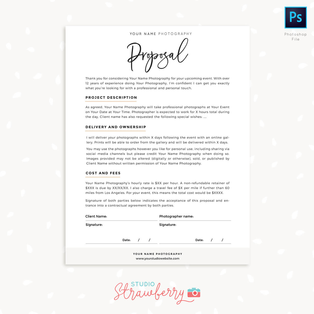 Photography Proposal Template Photoshop