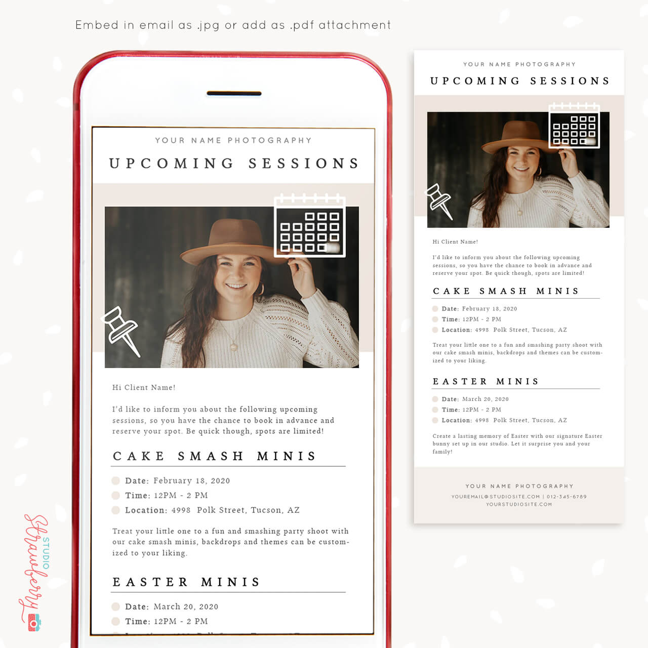 Upcoming sessions email template