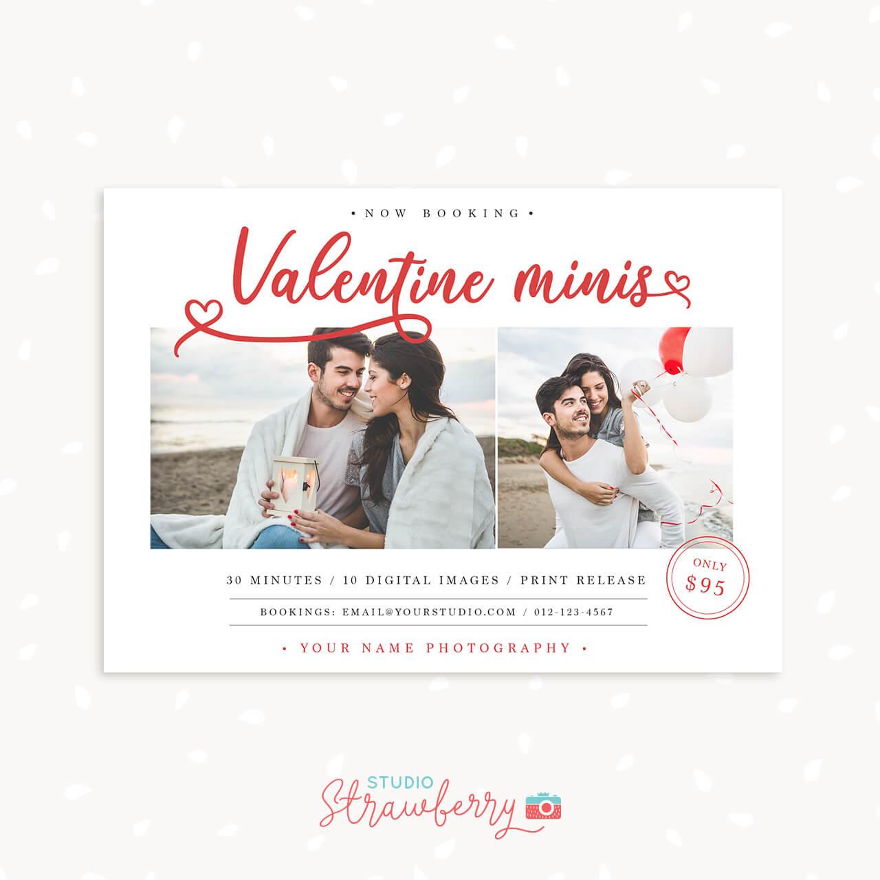 Valentine Mini Sessions Template Lettering Hearts